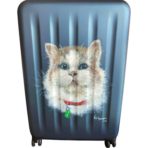 Kitty hand-painted luggage