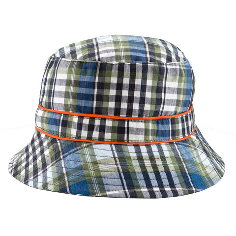 BANZ® Bucket Cotton Sun Hat - Navy Check