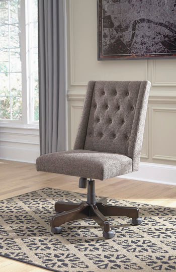 Grey Fabric Home Office Swivel Desk Chair