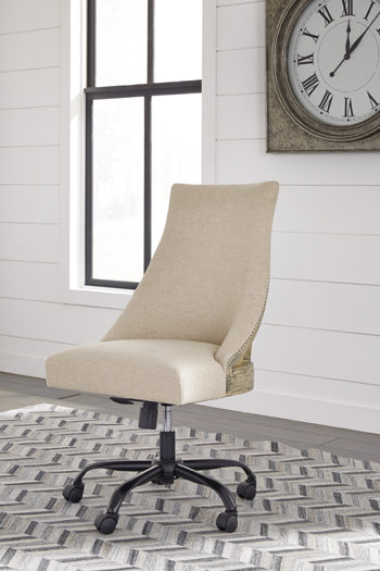 White Home Office Upholstered Swivel Desk Chair