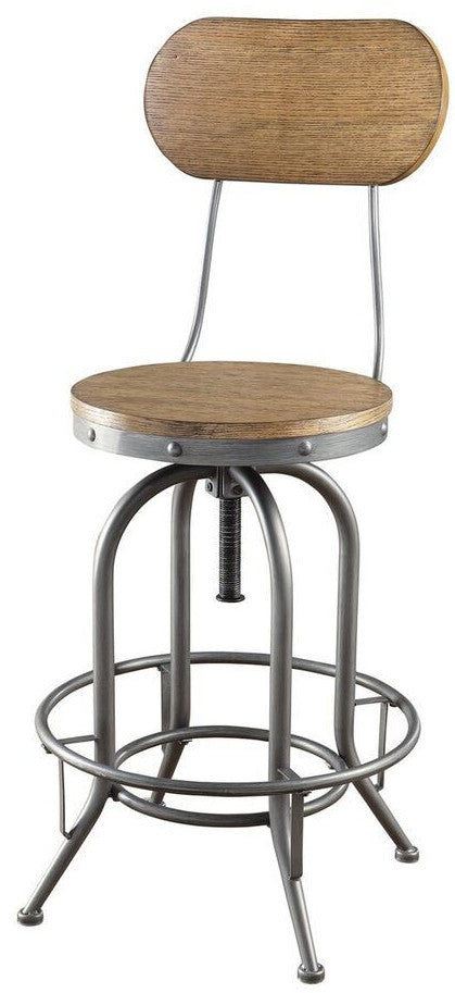 Industrial Backed Bar Stool - Adjustable Height