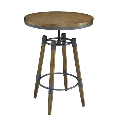Hornell Adj. Height Bar Table - Weathered Oak