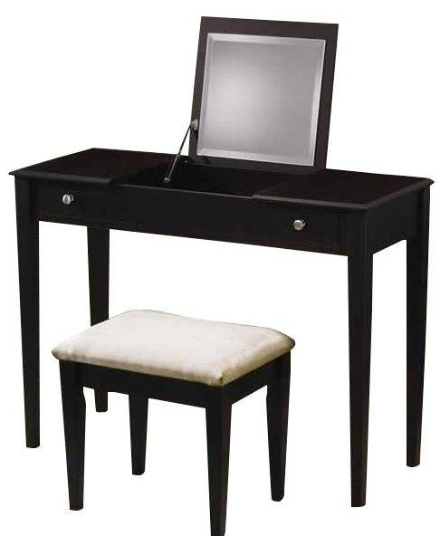 Vanity Desk Set w/Hidden Mirror & Stool - 2 Colors