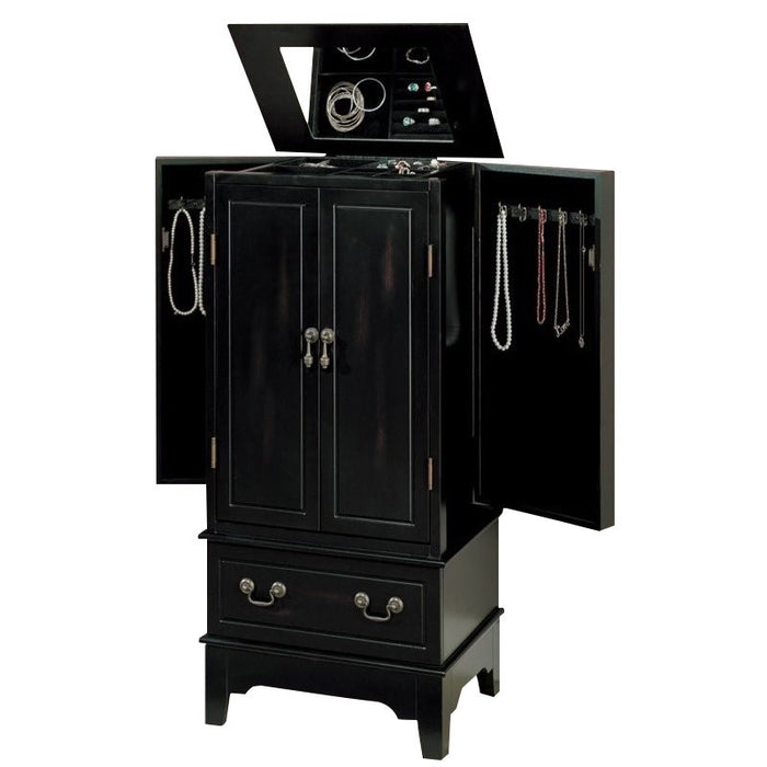 Jewelry Armoire - Rubbed Through Black