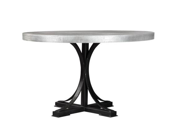Rochelle Hand Hammered Round Dining Table Furniture Express