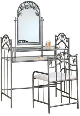 Vanity Set w/ Stool & Mirror - Nickel Bronze