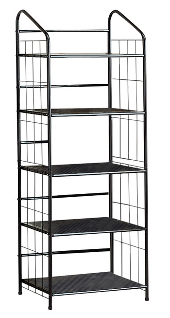 Five Tier Metal Cage Bookcase - Black