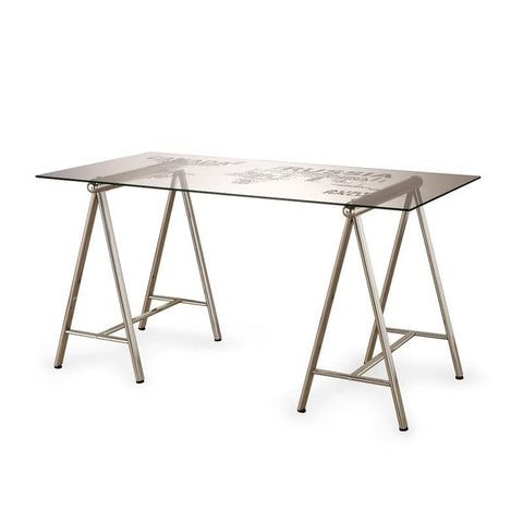 Glass sawhorse desk nickel world map option gumiabroncs Gallery