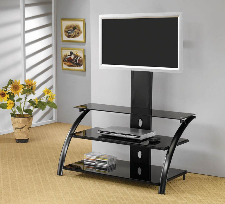 Contemporary Black TV Console w/ Mount