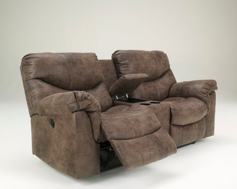 Alzena - Reclining Loveseat w/ Center Console - Gunsmoke - Optional Power