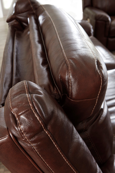Wyline - Power Reclining Sofa w/ Adjustable Headrest - Genuine Leather