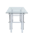 Adjustable Height Glass Sawhorse Desk - Chrome