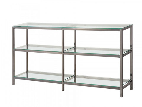 Two Tier Double Bookcase - Tempered Glass