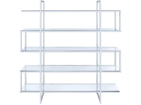 Four Tier Bookcase - Chrome - 2 Color Glass Shelving