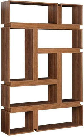 Cubic Designer Bookcase - Light Walnut