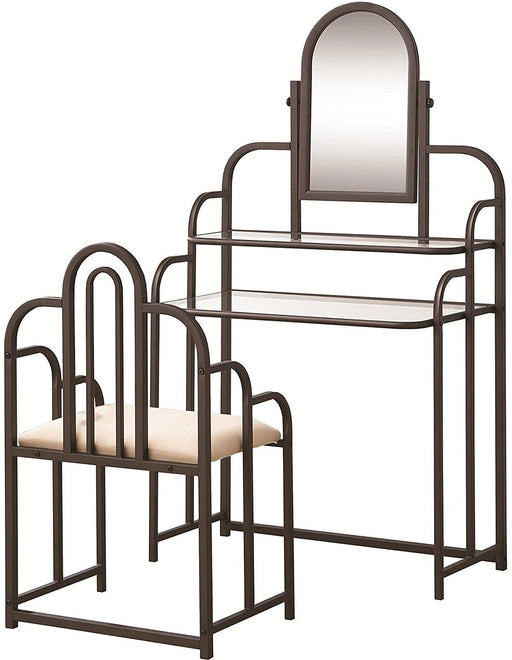 Vanity Set w/ Stool & Mirror - Dark Iridescent Brown