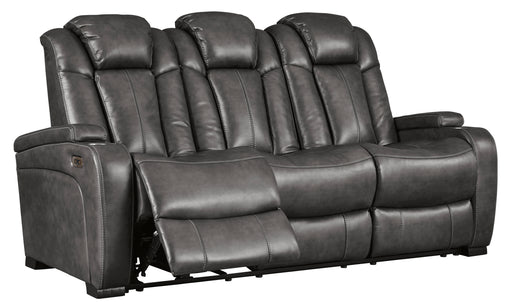 Turbulance Power Reclining Sofa w/Adjustable Headrest & Drop Down Table