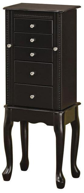 Classic Queen Ann Style Jewelry Armoire - Black