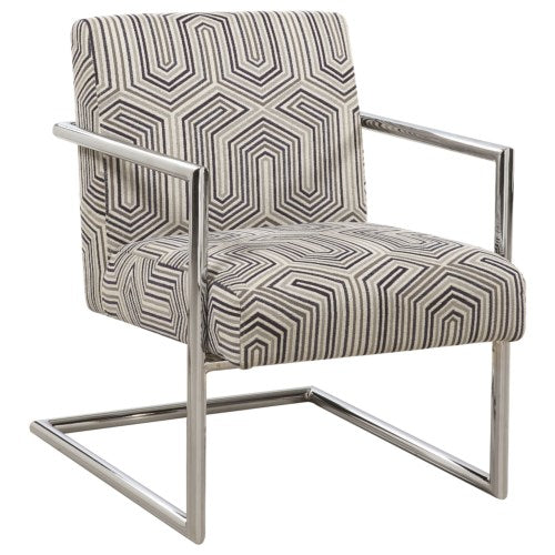 Accent Chair - Geometric Pattern - Grey/Blue