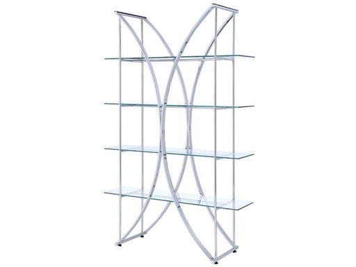 Four Tier Bookcase - Crescent Design - Tempered Glass