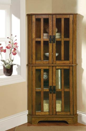 Traditional Warm Brown Corner Curio Cabinet