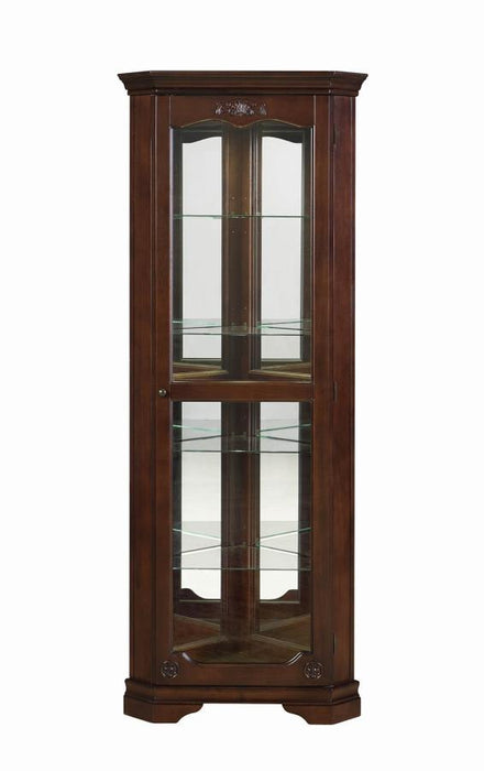 Traditional Golden Brown Corner Curio Cabinet