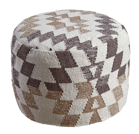 Abraham Pouf - White/Brown