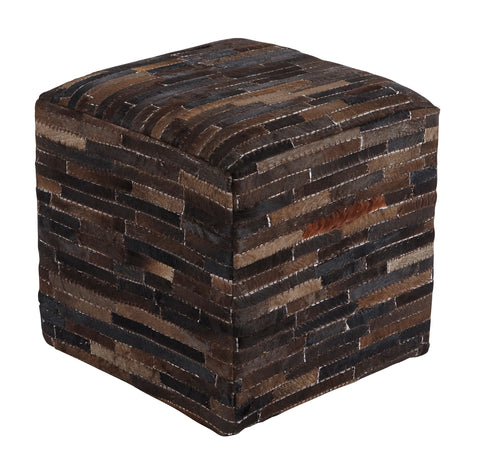 Cowhide Pouf - Natural
