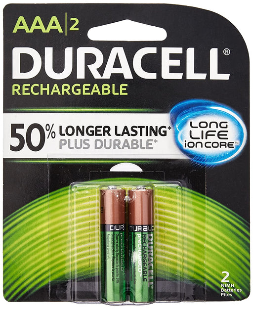 Duracell Rechargeable AAA NiMH Batteries, 2/Pack