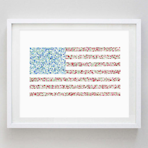 American Flag Floral Watercolor Print by Carly Rae