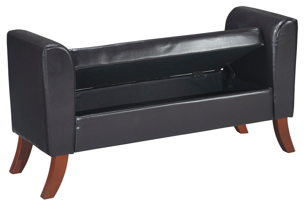 Benches - Upholstered Storage Bench - Brown