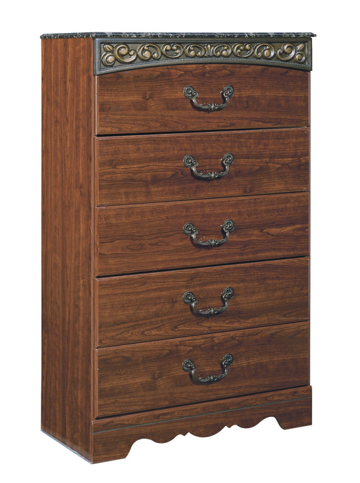 Fairbrooks Estate - Five Drawer Chest - Reddish Brown