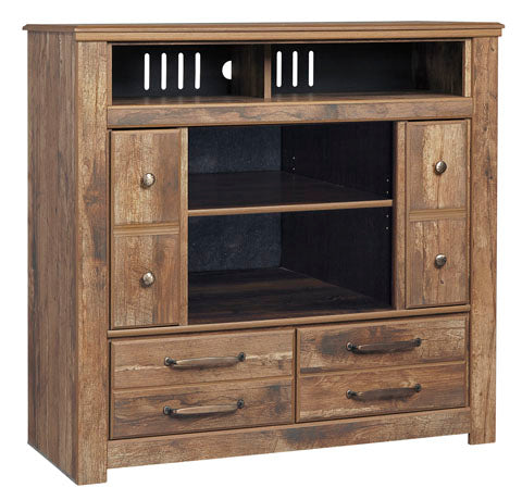 Blaneville - Media Chest W/ Optional Fireplace - Brown