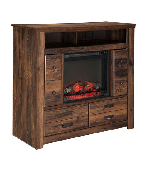 Quinden - Two Drawer Media Chest W/ Optional Fireplace - Dark Brown