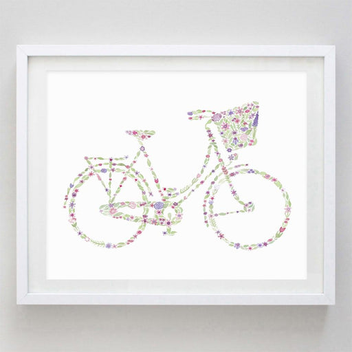 Bicycle Floral Watercolor Print by Carly Rae