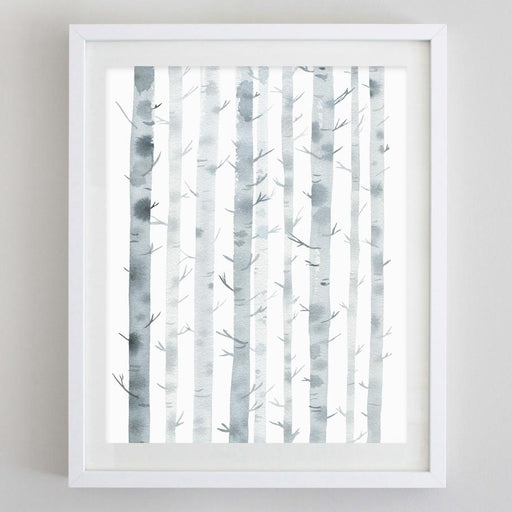 Birch Trees Watercolor Print by Carly Rae