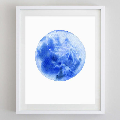 Blue Moon Watercolor Print by Carly Rae