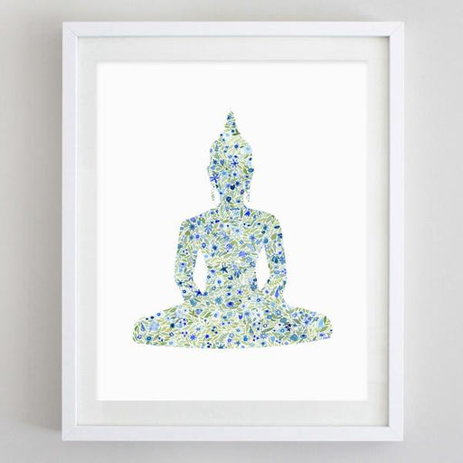 Buddha Yoga Floral Watercolor Art Print by Carly Rae