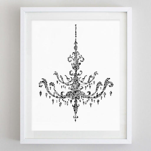 Black and White Chandelier Floral Watercolor Print by Carly Rae