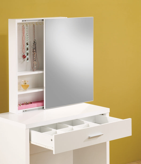 Vanity Desk Set w/Hidden Mirror Jewelry Stow & Stool - 2 Colors