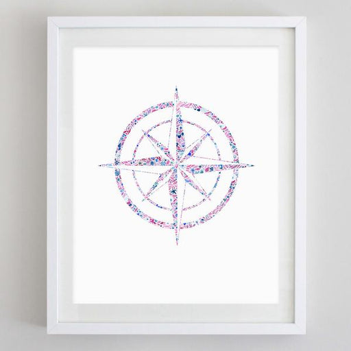 Compass Floral Watercolor Art Print - Theta Phi Alpha by Carly Rae