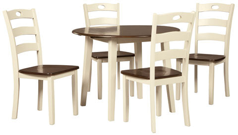 Woodanville Round Drop Leaf Dining Set - Dining Height