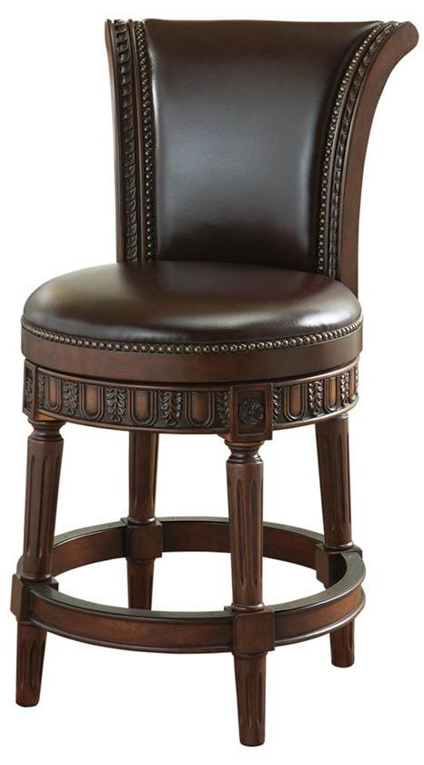 North Shore Leather Back Swivel Counter Height Stool
