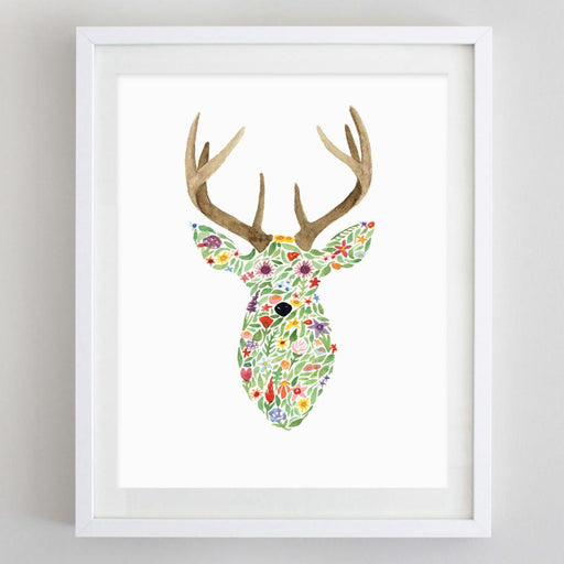 Deer Floral Watercolor Print by Carly Rae