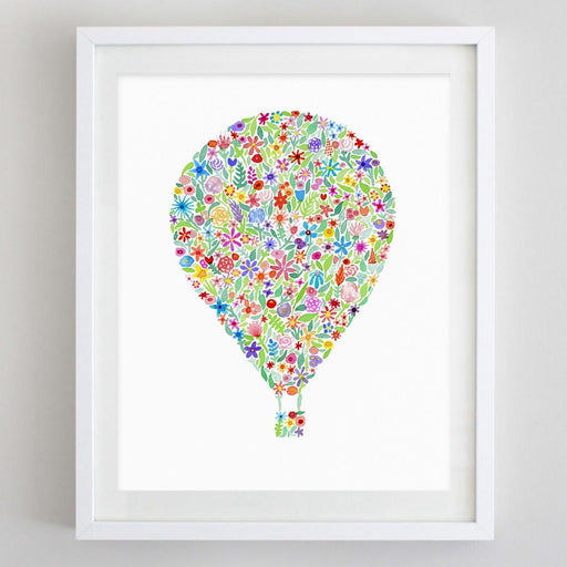 Hot Air Balloon Floral Watercolor Print by Carly Rae