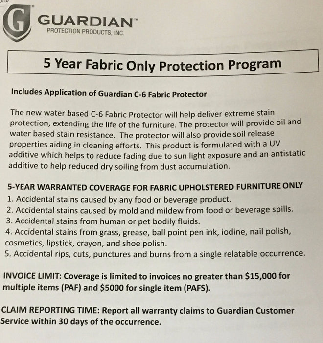 PAF & PAFS - FABRIC ADDVANTAGE PROTECTION PLAN - GUARDIAN