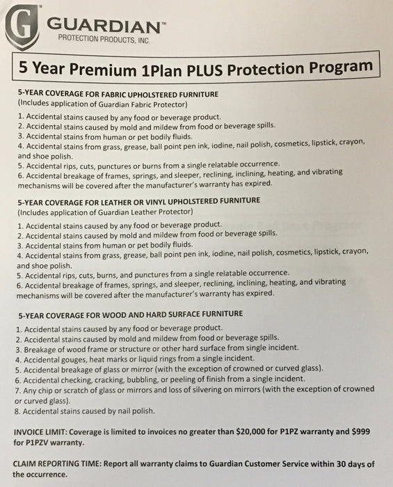 P1P & P1PV - 1PLAN PROTECTION PLAN - GUARDIAN