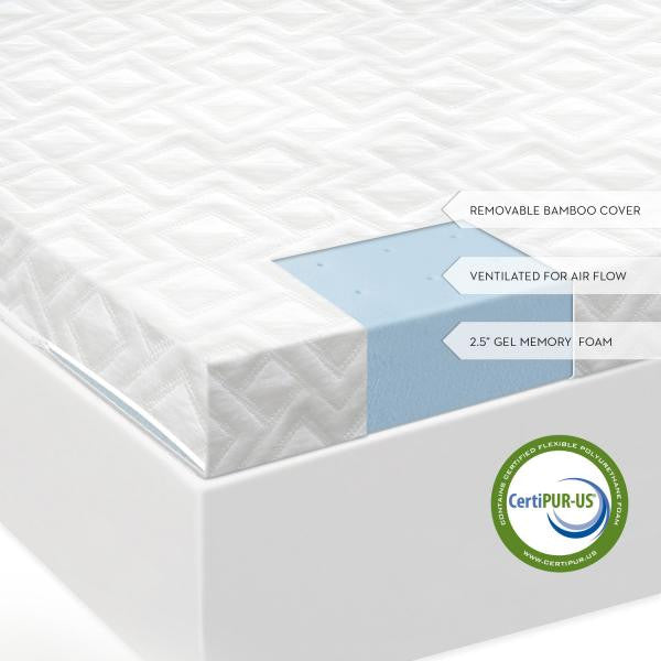 "2.5"" Gel Memory Foam Mattress Topper"