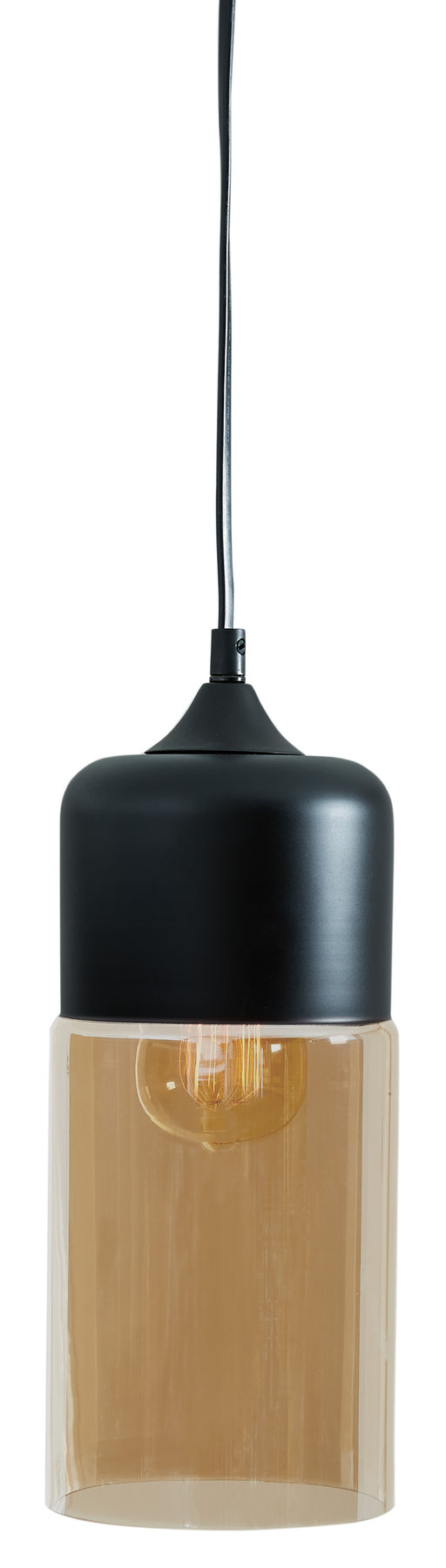 Williamina Glass Cylinder Pendant Light - Champagne/Black