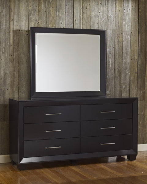 Hudson 6 Drawer Dresser w/ Mirror - Gloss Black